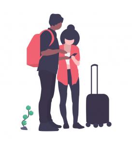 旅のしおりをみるカップル